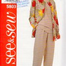 Simple Separates Cardigan Top Pants Size 18-22 Uncut Butterick 5803 Easy Basic Classic Coordinates