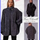 Loose Fitting Faux Chenille Jacket Size 6-24 Uncut McCall's 8528 Textured Reversible Cloak Cardigan
