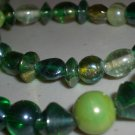 Iridescent Shades of Green Beaded Matinee Necklace Elegant Retro Mod Irregular Shaped Glass Beads