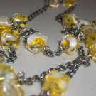 Yellow Square Beaded Opera Necklace Pretty Dainty Cute Swirled Glass Beads Gunmetal Chain Mod Chic