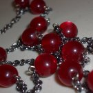Sultry Crimson Red Baubles Opera Necklace Simple Mod Chic Gunmetal Chain Cute Dainty Plastic Beads