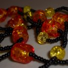 Autumn Orange Yellow Beaded Opera Necklace Hippy Bohemian Cylinder Plastic Crackled Glass Seed Beads