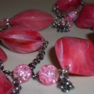 Pretty Pink Salmon Marbled Baubles Opera Necklace Bold Stylish Chunky Plastic Crackled Glass Beads
