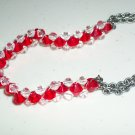 Fire and Ice Sparkly Woven Bracelet Dainty Feminine Red and Clear Faceted Glass Beads Gunmetal Chain