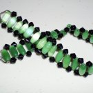 Green Caterpillar Unique Woven Bracelet Funky Boho Indie Chic Jade Black Oblong Faceted Glass Beads