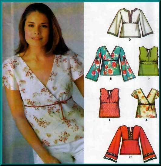 Boho Mod Chic Pullover Tops Size 8-14 Uncut Simplicity 5099 Hippy Bell Sleeves Empire Bodice Gathers