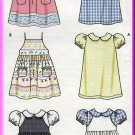 Toddlers' Sundress Pinafore Size 1/2-4 Simplicity Sewing Pattern 5647 Puffy Sleeves Peter Pan Collar