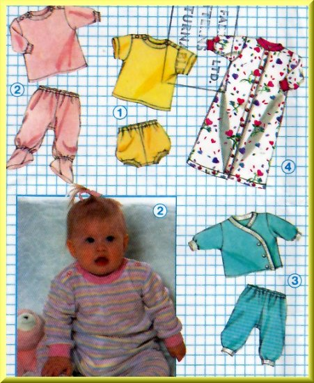 Vintage 80s Baby's Knit Wardrobe Sz NB Simplicity Sewing Pattern 8968 Stretch Tops Bottoms Bunting