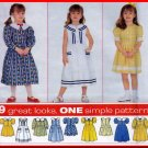 Charming Girls' Dress Size 5-8 Simplicity Sewing Pattern 8160 Bib Sailor Collar 9 Looks in One