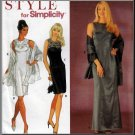 Glamorous Evening Dress Skirt and Wrap Size 6-16 Uncut Simplicity 8840 Fancy Formal Sweetheart Yoke
