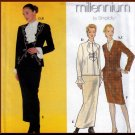 Elegant Skirt Suit and Blouse Size 4-10 Uncut Simplicity 8847 Cascading Jabot Collar Ruffled Sleeves