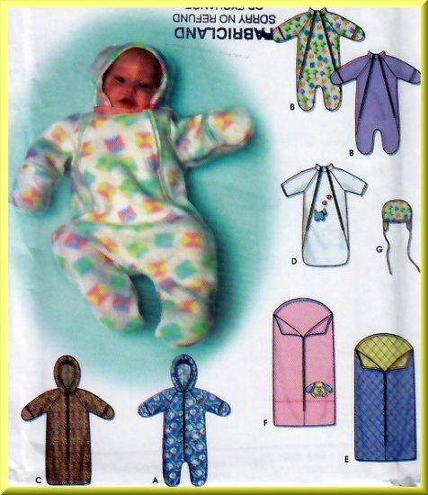 Baby's Fleece Winter Buntings Size XXS-S Simplicity Sewing Pattern 9418 Hat Hood Blanket Mittens