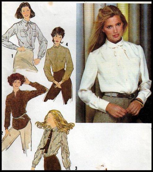CUT Women's Retro Ladylike Feminine Blouses Size 10 Simplicity 9138 Vintage Secretary Button Shirts