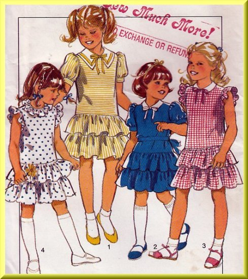 Child's Pretty Ruffled Party Dress Sz 3-5 Uncut Style Sewing Pattern 3824 Puff Sleeves Drop Waist