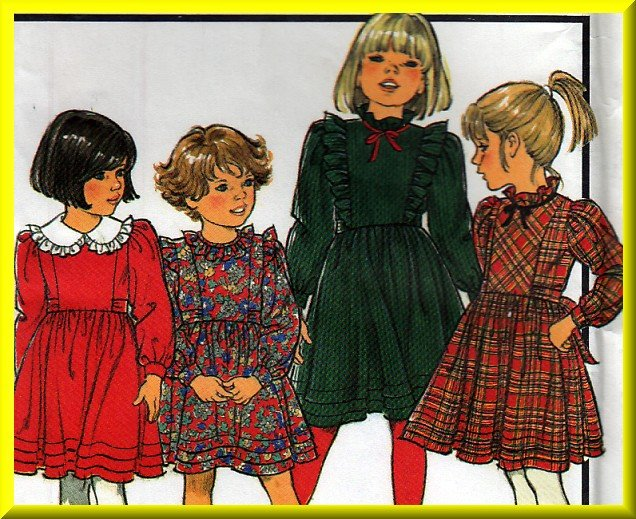 Girl's Long Sleeve Party Dress Sz 2-4 Uncut Style Sewing Pattern 4838 Gathered Skirt Ruffled Collar