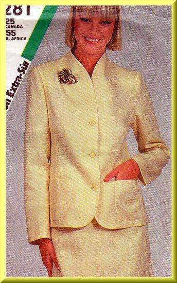 Women's Professional Office Skirt Suit Sz 12-16 Uncut Simplicity 6281 Retro Funnel Neckline Jacket