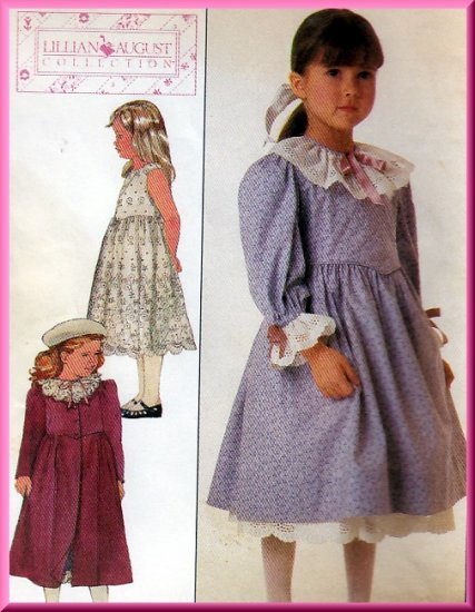 Sweet Girl's Dress Petticoat and Coat Sz 6 Uncut Simplicity 8191 Retro 80s Lillian August Collection