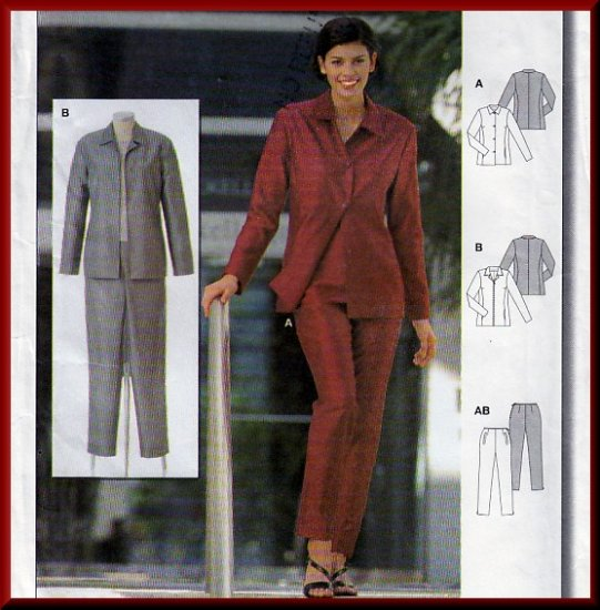 Elegant Basic Women's Office Pantsuit Sz 8-16 Uncut Burda 2682 Button or Zipper Front Collar Jacket