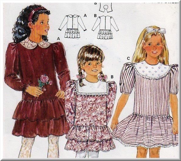 Girls' Ruffled Party Dress Size 4-10 Burda Sewing Pattern 5320 Dainty Puff Sleeves Gathered Skirt