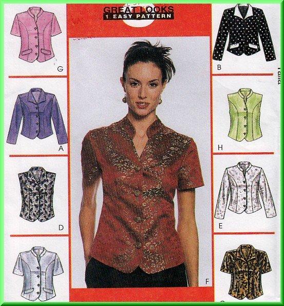 Chic Princess Seamed Women's Tops Size 12-16 Uncut McCall's 2037 Mandarin Wing Collar Simple Basics