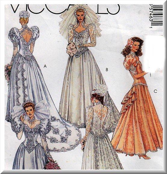 Lady Di Retro Glam Wedding Gown Size 10 Uncut McCall's 5746 Princess Bridal Dress Bridesmaid Gown