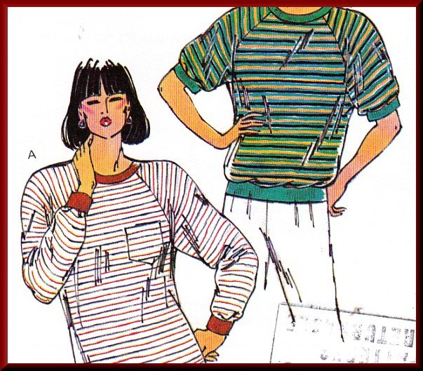 Sporty Casual Women's Raglan T-shirts Sz Xs-XL Uncut Kwik Sew 1976 Basic Stretch Knit Pullover Tops