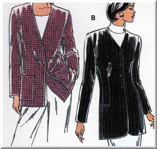 Women's Classic Tailored Jacket Topper Sz Xs-XL Uncut Kwik Sew 2465 Semi-fitted V-neck Princess Seam