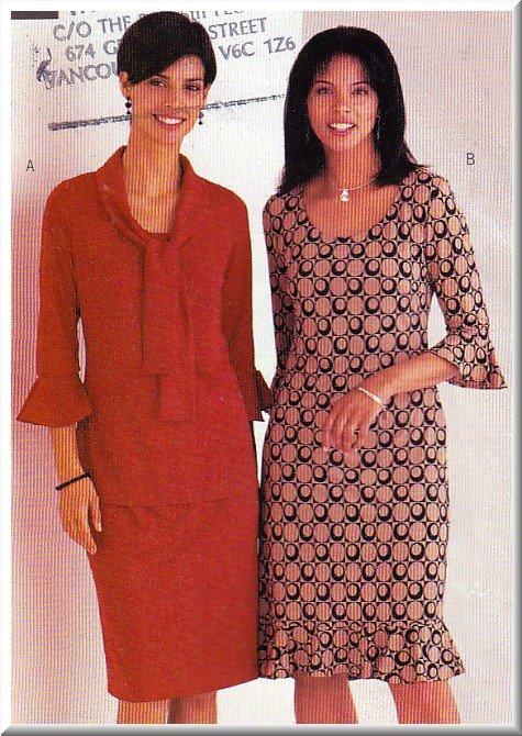 Women's Ruffled Knit Pullover Dress Sz 18-22 Uncut Butterick 3624 Flounce Tie-Collar Close-Fitting
