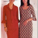 Women's Ruffled Knit Pullover Dress Sz 18-22 Uncut Butterick 3624 Flounce Tie-Collar Close-Fitting