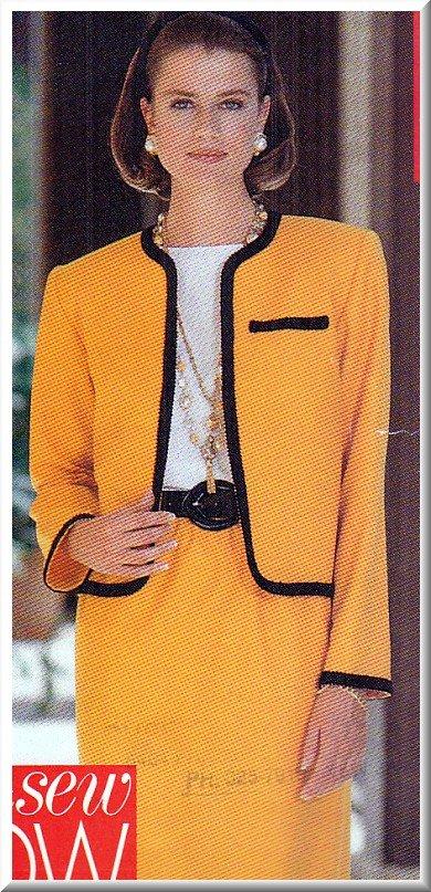 Classic Elegant Women's Skirt Suit Sz 6-14 Uncut Butterick 5152 Chic 90s French Designer Look Tweed