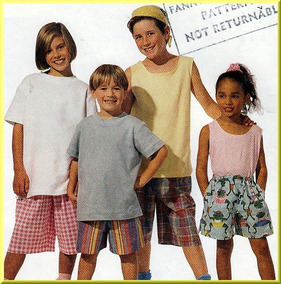 Easy Sew Children's Elastic Shorts Sz L McCall's Sewing Pattern 7017 Pull-on Beginner Basic 1-Hour