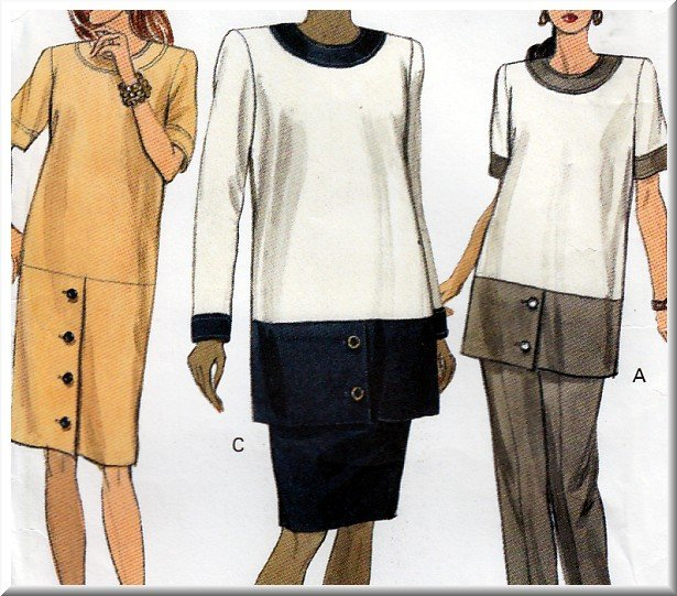 Women's Formal Maternity Wear Outfit Sz 8-12 Uncut Vogue 7982 Mod Office Dress Tunic Skirt or Pants