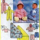 Babies' Hooded Onesie Blanket Set Sz NB-L Simplicity Sewing Pattern 7807 Knit Jacket Shirt Pants