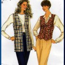 Women's Casual 2-Piece Pants and Vest Sz 8-18 Uncut Simplicity 8662 Retro 90s Long Short Waistcoat
