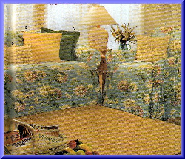 Classic Home Dec Slip Covers Pillows Simplicity Sewing Pattern 9529 Cottage Couch Sofa Chair Cover
