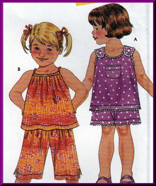 Darling Toddler's Summer Shorts Set Simplicity Sewing Pattern 9678 Fun Sleeveless Tops Elastic Pants