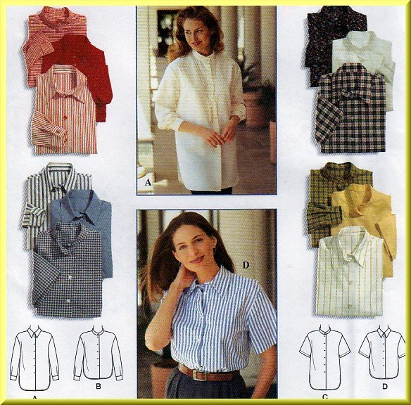 Women's Classic Blouses and Button Front Shirts Sz 12-16 Uncut Simplicity 9818 Cotton Poplin Gingham