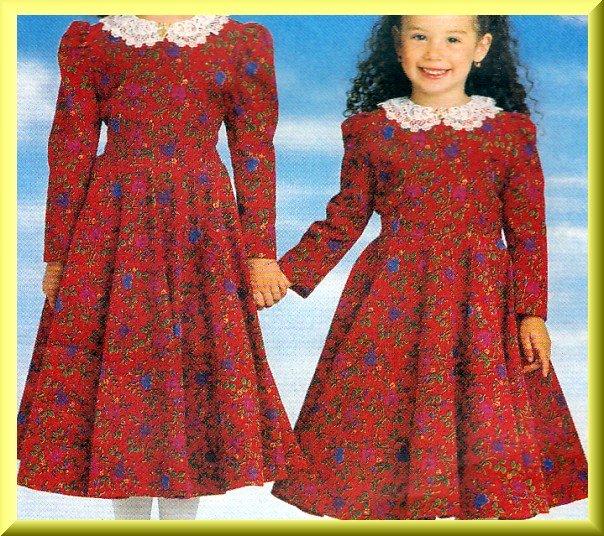 Girls' Fancy Dress Petticoat Sz 2-5 Butterick Sewing Pattern 4752 Pretty Flared Skirt Puff Sleeves