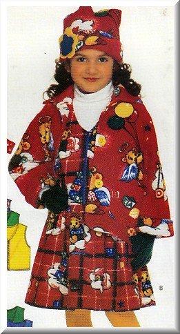 Girl's Warm Fleece Outfit Sz 5-6x Butterick Sewing Pattern 5096 Hat Jacket Vest Scarf Pants Dress