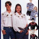 His and Hers Unisex Western Shirt Sz XL-XXL McCall's Sewing Pattern 7993 Country Cowboy Button Shirt