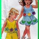 Girls' Applique Beach Outfits Sz 3-6x Simplicity Sewing Pattern 7302 Gored Tulip Skirt Shorts Capri