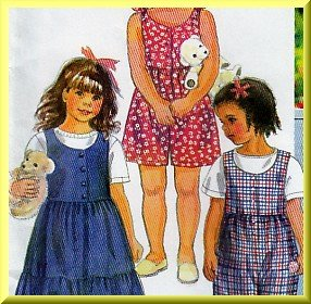 Girls' Cute Jumper Dress Sz 2-4 Simplicity Sewing Pattern 9527 Gathered Romper Jumpsuit Tiered Skirt