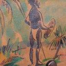 Vintage Nubuck Leather Coin Wallet Handmade Cardholder Handpainted Native Motif New Castle Australia