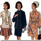 Retro 60s Mod Chic Outfit Sz 12 Vogue Sewing Pattern 7671 Ascot Blouse Pleated Skirt Vest Pants