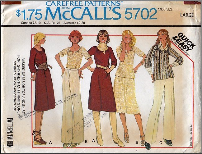 Funky 70s Knit Dress Coordinates Sz L McCall's Sewing Pattern 5702 Top Skirt 1-Piece Stretch Outfit