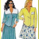 Boxy Double Breasted Jacket Sz 8-18 Burda Sewing Pattern 5480 Yoke Pleated Skirt 80s Sailor Collar