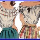 Puffy Off-the-Shoulder Top Sz 12 Simplicity Sewing Pattern 1599 WWII Peasant Gypsy Blouse 1945