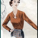 Sophisticated 1950s Misses' Blouse Sz 14 Vogue Sewing Pattern 7493 Retro V-neck Collar Yoke Darts