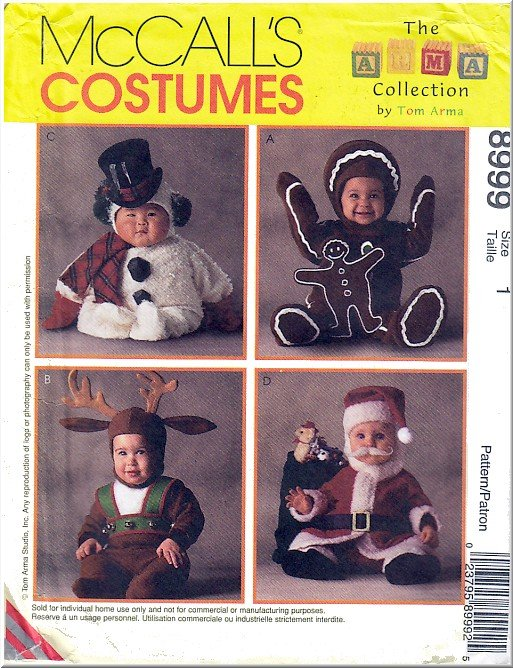 Baby's Festive Christmas Halloween Costumes Sz 1 McCall's Sewing Pattern 8999 Santa Reindeer Snowman