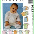 Infants' Gowns Basic Stretch Knits McCall's Sewing Pattern 9292 Layette Booties Rompers Top Pants